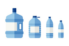 Bottles for water. Of different sizes. Flat icons of plastic transparent bottles vector illustration