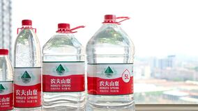 Bottles water of Nongfu Spring from small to large.Nongfu Spring entered the HongKong
