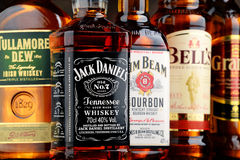Bottles of 5 whiskey brands from USA, Irland and Scotland Stock Photos
