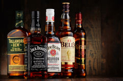 Bottles of 5 whiskey brands from USA, Irland and Scotland Stock Images