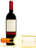 Bottles of the white and red wine Stock Image