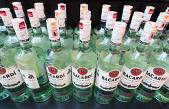 Bottles with white rum of Bacardi Stock Photos