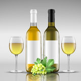 Bottles of white wine with glass. Bottle of white wine with glass vector illustration Stock Images