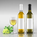 Bottles of white wine with glass. Bottle of white wine with glass vector illustration Royalty Free Stock Photo