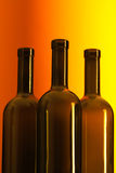 Bottles of wine. Three empty bottles of wine Royalty Free Stock Images