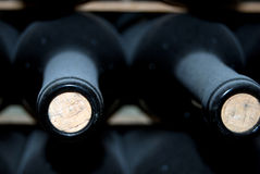 Bottles of wine. In a traditional winery of Granada stock images