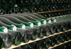 Bottles with wine. Stored on racks Royalty Free Stock Photos