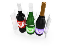 The bottles of wine in a bag Stock Photos