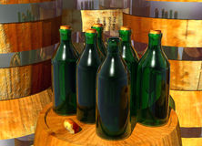 Bottles of Wine on Barrels Royalty Free Stock Image
