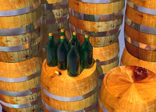 Bottles of Wine on Barrels Stock Images