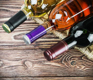 Bottles of wine in a basket Royalty Free Stock Image