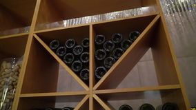Bottles of wine. In restaurant or bar stock video footage