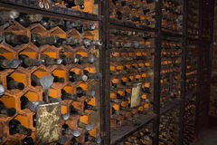 Bottles in the wine cellar in the wine cellar Stock Photos