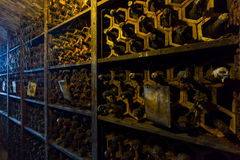Bottles in the wine cellar in the wine cellar Stock Images