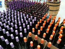 Bottles of wine different varieties Royalty Free Stock Photo