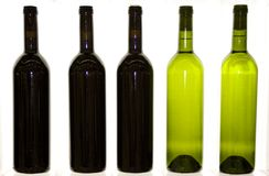 Bottles wine drink restaurant. Some bottles of red and white wine Stock Photography