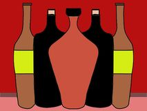 5 Bottles of wine. 3 Bottles of wine festively decorated with a black and white background Royalty Free Stock Photo