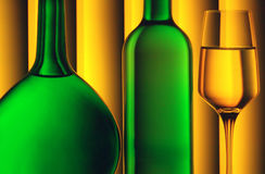 Bottles and wine glass. Two green wine bottles and a glass of white wine with striped yellow background Stock Photography