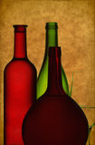 Bottles and wine glass Stock Photo
