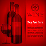 Bottles wine and glass on red Royalty Free Stock Image