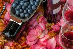 Bottles, wine glasses with blueberry in rose garden stock images