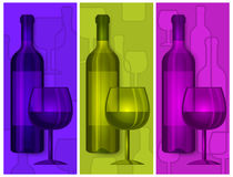 Bottles wine and glasses Stock Photo