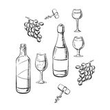 Bottles of wine, glasses and grape sketches Stock Photos