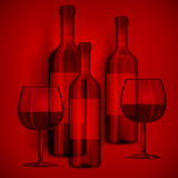 Bottles wine and glasses on red Royalty Free Stock Image