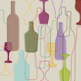 Bottles and wine glasses Royalty Free Stock Image