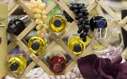 Bottles of Wine and Grapes Royalty Free Stock Images