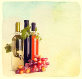 Bottles of wine and grapes Royalty Free Stock Photography