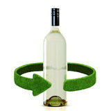 Bottles of wine and green arrows from the grass. Recycling concept isolation on white Royalty Free Stock Photo