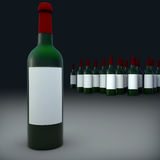 Bottles of wine isolate on black background. Royalty Free Stock Photography