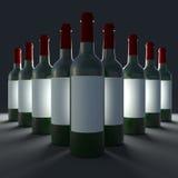 Bottles of wine isolate on black background. Stock Photography