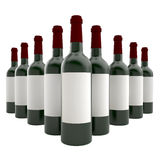 Bottles of wine isolate on white background. Royalty Free Stock Photos