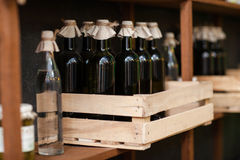 Bottles of wine without labels, Moldovan. Stock Images