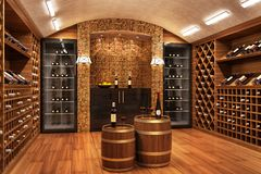 Bottles with wine in a modern wine vault. Design royalty free stock photos