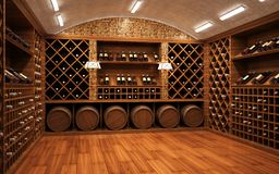 Bottles with wine in a modern wine vault. Design stock photo