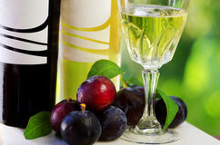 Bottles of wine and plums Stock Photography