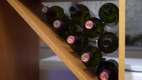 Bottles of wine. In restaurant or bar stock video