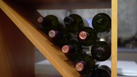 Bottles of wine. In restaurant or bar stock footage