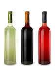Bottles of wine rosy, red and white vector Stock Image