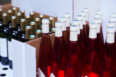 Bottles at the wine shop Stock Images