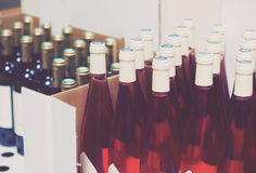 Bottles at the wine shop Royalty Free Stock Image