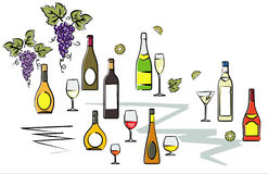 Bottles of Wine Vector Illustration Royalty Free Stock Photo