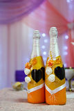 Bottles with wine on  wedding table Stock Images