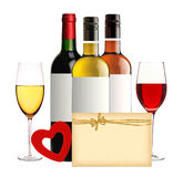 Bottles of wine, wineglasses, red heart and card isolated Royalty Free Stock Image