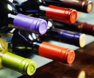 Bottles of wine in a winery. Red and white wine Royalty Free Stock Images