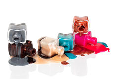 Free Bottles With Spilled Nail Polish Stock Photos - 24993193