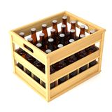 Bottles in wooden crate Royalty Free Stock Photo